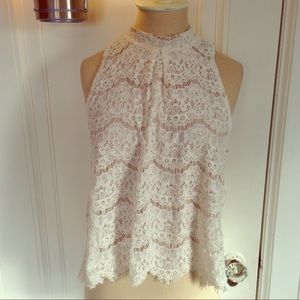 Tops - Collared White Lace Sleeveless Top w/ Nude Lining